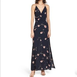 LIKE NEW Surplice Navy Floral Maxi Dress as small